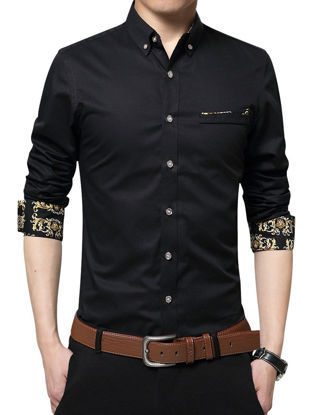 Picture of Men's Shirt Faddish Long Sleeve Business Chic Style Shirt - Size: 3XL