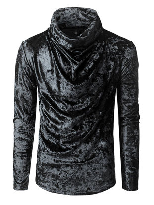 Picture of Men's T Shirt Solid Color Heaps Collar Long Sleeve Comfy Causal Fashion Top - Size: XXL
