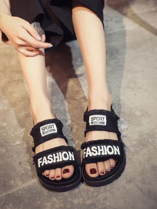 Picture of Women's Sandals Open Toe Letter Thick Sole Comfy Casual Trendy Shoes - Size: 39