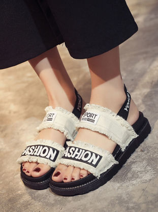 Picture of Women's Sandals Open Toe Letter Thick Sole Comfy Casual Trendy Shoes - Size: 40