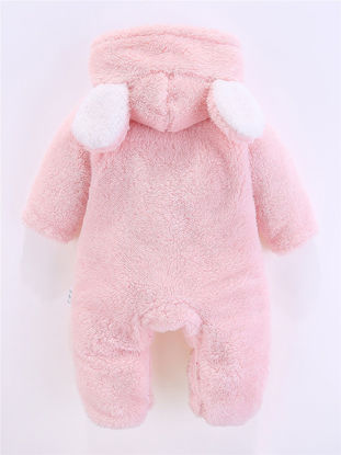 Picture of Baby Baby Jumpsuit Solid Color Single Breasted Hooded Long Sleeve Jumpsuit - Size: 73cm