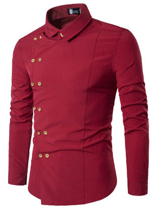 Picture of Men's Shirt Turn Down Collar Long Sleeve Solid Color Faddish Slim Top - Size: XXL