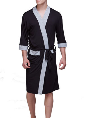 Picture of Men's Robe Three Quarters Sleeve Patchwork Fashion Cozy Homewear Robe - Size: XL