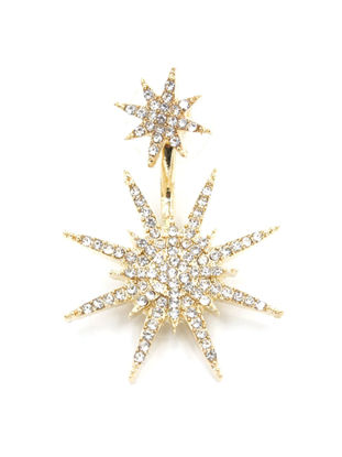 Picture of 1Pc Women's Ear Stud Snowflake Shaped All Match Rhinestone Studded Accessory - Size: One Size