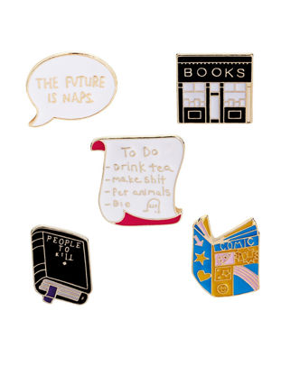 Picture of 5 Pcs Women's Brooches Creative Book Design Scarf Buckles Clothes Accessories - Size: One Size