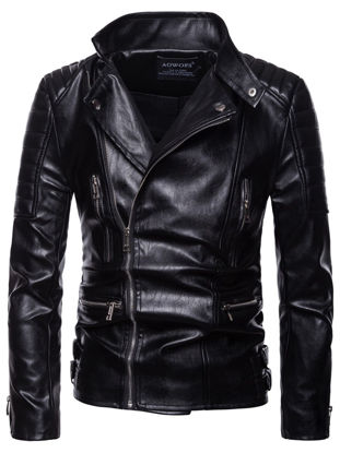 Picture of Men's Synthetic Leather Jacket Fashion Slim Zipper Notched Plus Size Jacket - Size: L