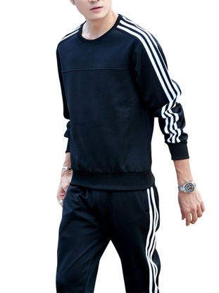 Picture of Men's Sports Set Long Sleeve Striped Top Pocketed Pants Plus Size Casual Set - Size: XL