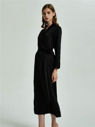 Picture of Women's Robe Casual Solid Color Long Sleeve Smooth Cozy Home Robe - Size: L
