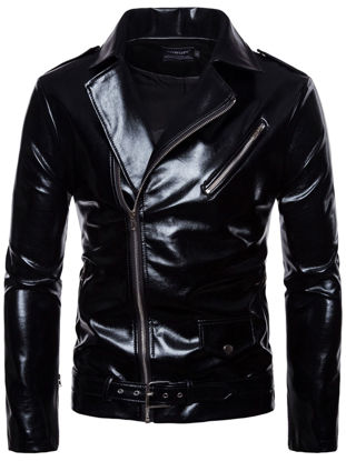 Picture of Men's Patent Synthetic Leather Jacket Classic Stand Collar PU Jacket - Size: M
