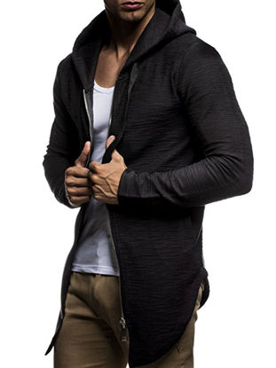 Picture of Men's Hoodie Classic Cardigan Comfy Outdoor Plus Size Breathable Patchwork Top - Size: 3XL
