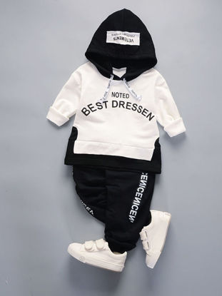 Picture of Toddler Boys 2Pcs Baby Boy's Clothes Set Simple Letters Pattern Casual Hoodie Pants Suit - Size: 100cm