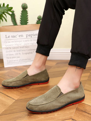 Picture of Men's Slip-on Shoes Solid Color Vintage Breathable Cozy Shoes - Size: 41