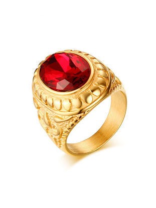 Picture of Gold Tone Stainless Steel Men Ring Red Stone Crystal Fashion Wedding Jewelry - Size: 8