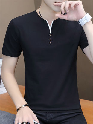 Picture of Men's T Shirt O Neck Short Solid Color Slim Top - Size: XL