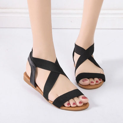 Picture of Women's Flat Sandals Casual Solid Color Simple Comfy Shoes - Size: 40