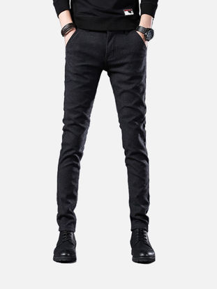 Picture of Men's Casual Pants Solid Color Straight Pants - Size: 36