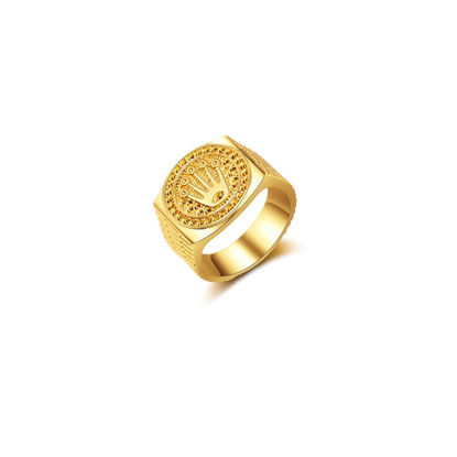 Picture of Men's Ring Crown Pattern Solid Color Fashion Design Ring Accessory - Size: 8
