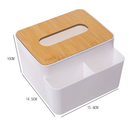 Picture of 1Pc Plastic Tissue Box With Wood Cover Multi-Use Remote Control Holder Organizer - Size: One Size