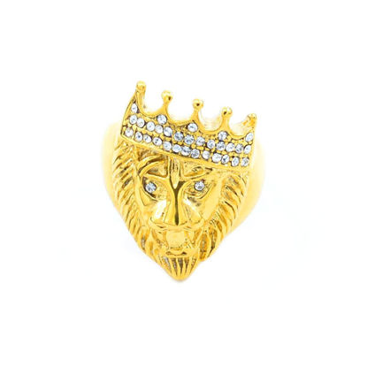Picture of Men's Ring Vintage Lion Crown Shape Design Trendy Accessory - Size: 7
