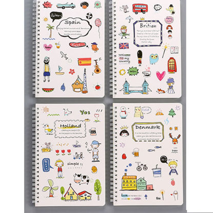 Picture of 4Pcs Notebooks Creative Cute Cartoon Pattern Portable Student Notebooks - Size: One Size