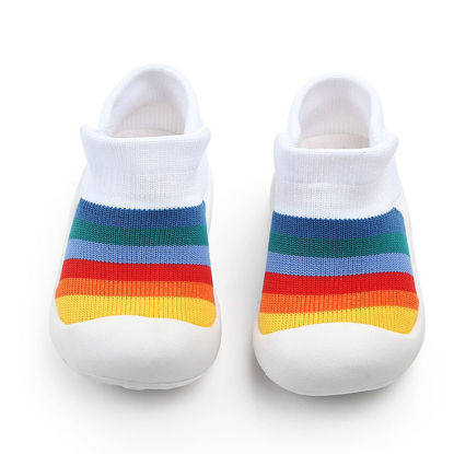 Picture of Baby Shoes Color Block Round Toe Sweet Shoes - Size: 13#5cm