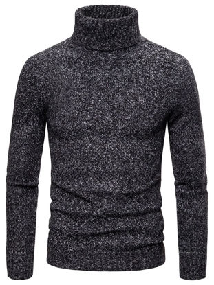 Picture of Men's Sweater Solid Color Long Sleeve Turtle Neck Slim Knitwear - Size: XXL