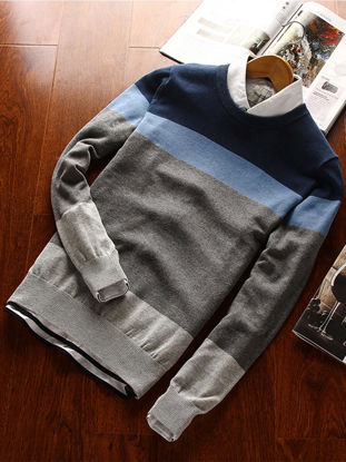 صورة Men's Sweater O Neck One Piece Casual Strip Weaving Sweater- Size: XXL