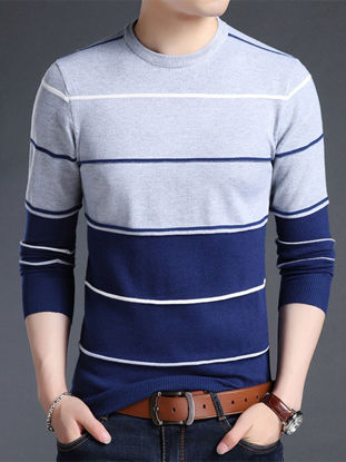 صورة Men's Sweater O  Neck Long Sleeve Striped Color Block Casual Pullover- Size: 3XL