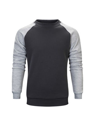 صورة Men's Sweatshirt O Neck Long Sleeve Color Block Sweatshirt- Size: XL