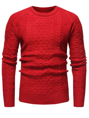 صورة Men's Sweater Fashion O Neck Solid Color Knitwear- Size: XL