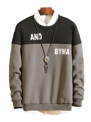 صورة Men's Sweatshirt Fashion Letter Pattern Long Sleeve Sweatshirt- Size: L