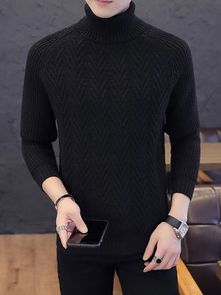 صورة Men's Pullover Sweater Stylish Slim Solid Color Knitwear- Size: XL