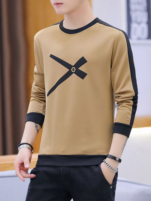 صورة Men's Sweatshirt Color Block Slim Long Sleeve Sweatshirt- Size: 3XL