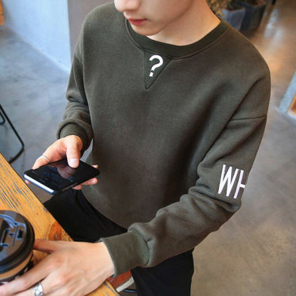 صورة Round neck pullover men's sweater Japanese youth casual long-sleeved T-shirt- Size: XL