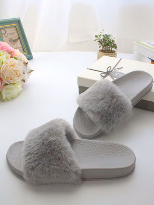Picture of One Pair Women's Slippers Fluffy Design Solid Color Simple Style Platform Indoor Slippers - Size: 36