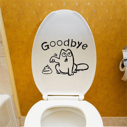 Picture of Bathroom Toilet Sticker Cartoon Likable Cat Pattern Removable Sticker - Size: One Size