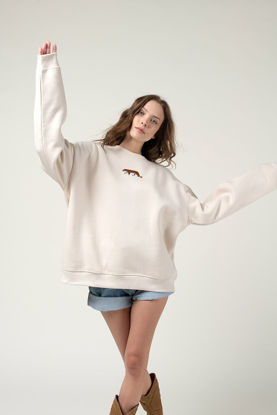 Picture of Cream Sweatshirt With Tiger Embroidery