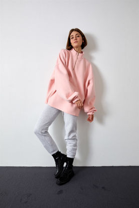 Picture of Soft Pink High Collar Oversize Sweatshirt
