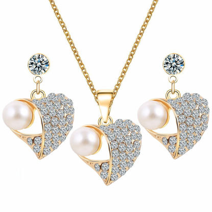 Picture of 3 Pcs Women's Jewelry Set Heart Design Earrings Ladylike Rhinestone Necklace Accessories - Size:One Size