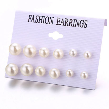 Picture of 6 Pairs Women's Earrings Set Imitation Pearl Earrings Accessory - Size:One Size