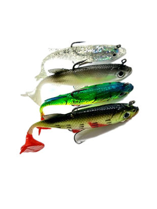 Picture of Fishing Consumables 4Pcs New Arrive 8cm 14g Soft Bait Lead Head Sea Fishing Tackle Sharp Fish Lures-Size: One Size