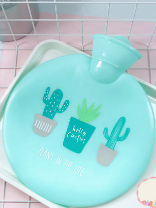 Picture of 1 Pc Hot Water Sack Fresh Style Cactus Themed Portable Comfy Lovely Hand Warmer-Size: 600ml