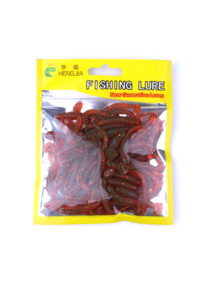 Picture of 50Pcs Soft Baits T-Tail Fishing Artificial Blackfish Striped Bass Lures-