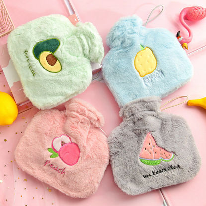 Picture of 1 Piece Hot Water Sack Fresh Fruits Pattern Plush Cute Hot Water Bag-Size: 1000ml
