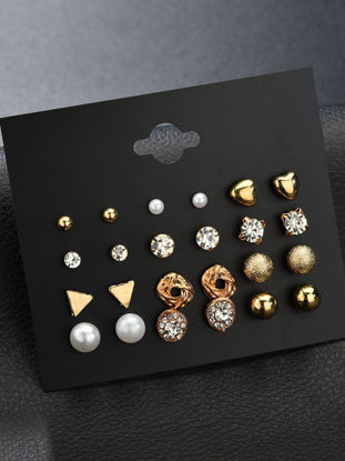 Picture of 24 Pcs Women's Studs All Matched Fashionable Trendy Brief Alloy Stud Accessory - Size: Free