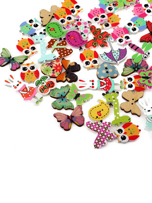 Picture of 50Pcs Cartoon Colorful Buttons DIY Manual Stickers Children Clothes Buttons - Size: One Size