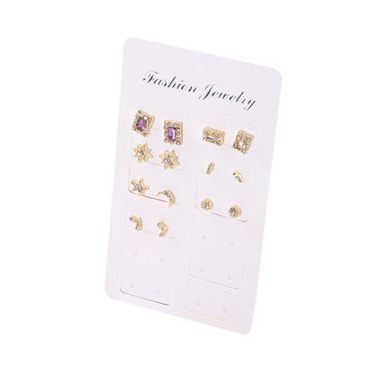 Picture of 7 Pairs Women's Studs Set Ladylike Rhinestone Chic Earrings Accessory - Size: One Size