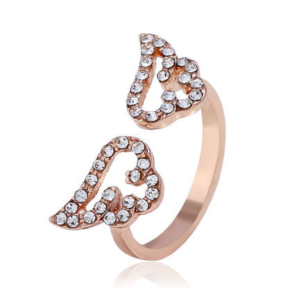 Picture of Women's Fashion Ring Sweet Style Wing Design Rhinestone Decor Stylish Ring Accessory - Size: One Size