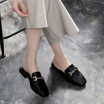 Picture of Women's Closed Slippers Fashion Square Toe Breathable Comfortable Casual Shoes - Size: 43