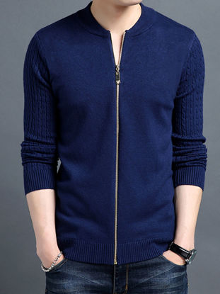 Picture of Men's Cardigans Solid Color All Match Fashion Casual Knitwear - Size: XXL